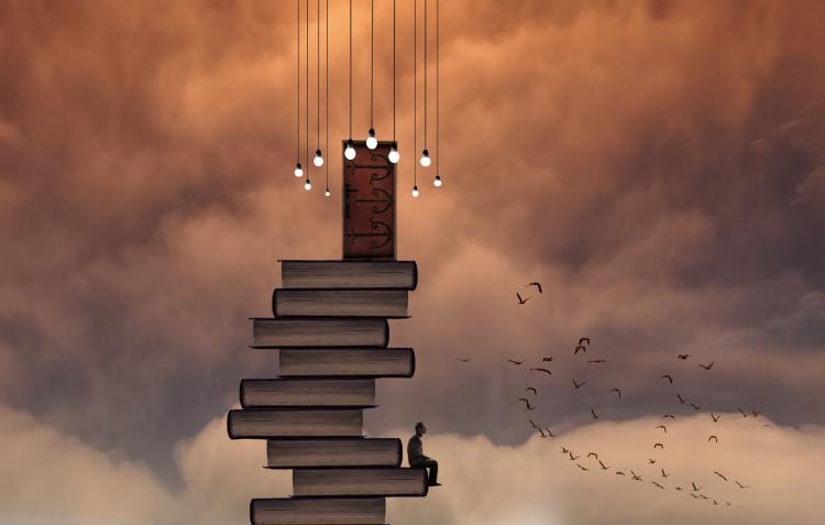 magic4walls - book stack & door